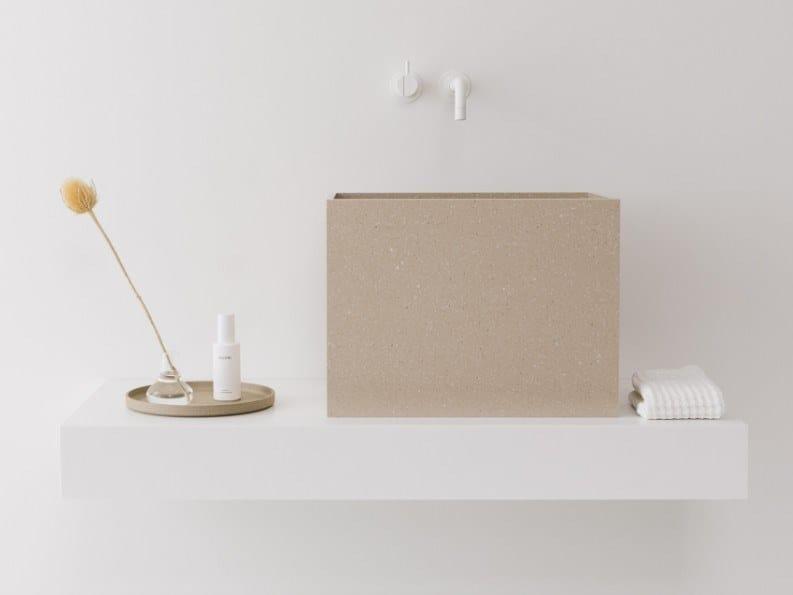 Countertop rectangular HI-MACS® washbasin FALL by Not Only White