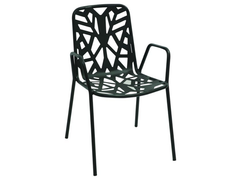 Stackable galvanized steel garden chair with armrests FANCY2 by RD Italia