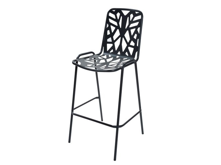 Stackable galvanized steel garden stool with back FANCY75 by RD Italia
