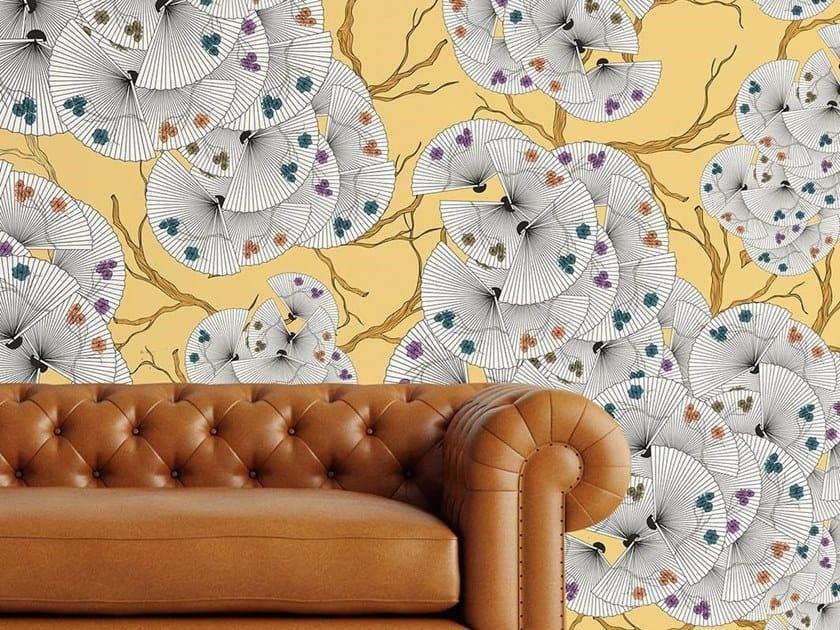 Carta da parati orientale PVC free, eco, lavabile FANS OF FLOWERS by Wallpepper
