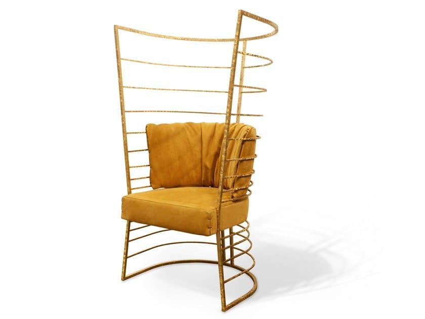 High-back leather armchair FARADAY | High-back armchair by Cornelio Cappellini