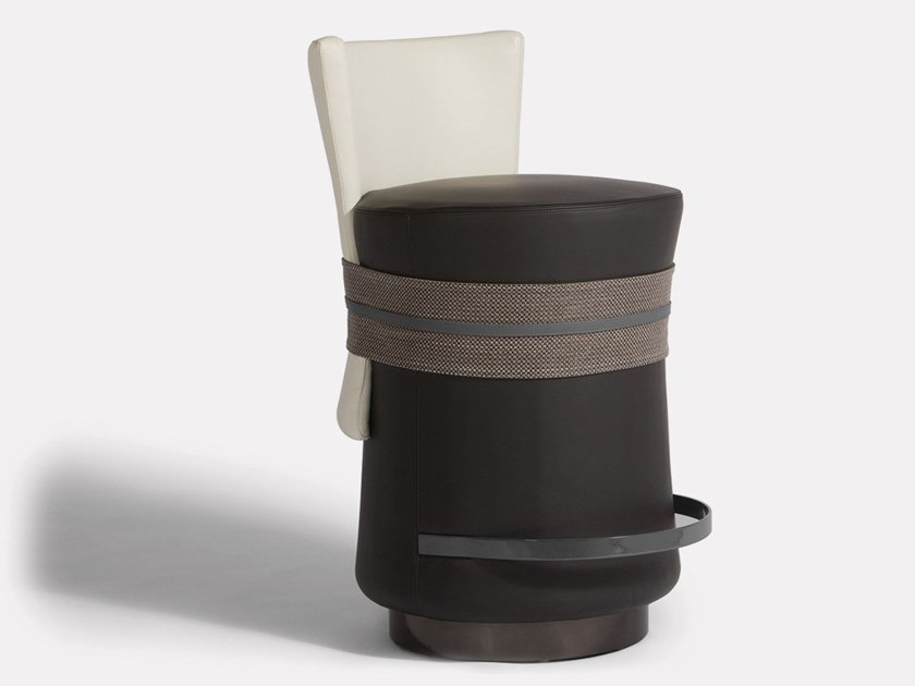 High leather stool with footrest FASCETTA | Stool by MORADA