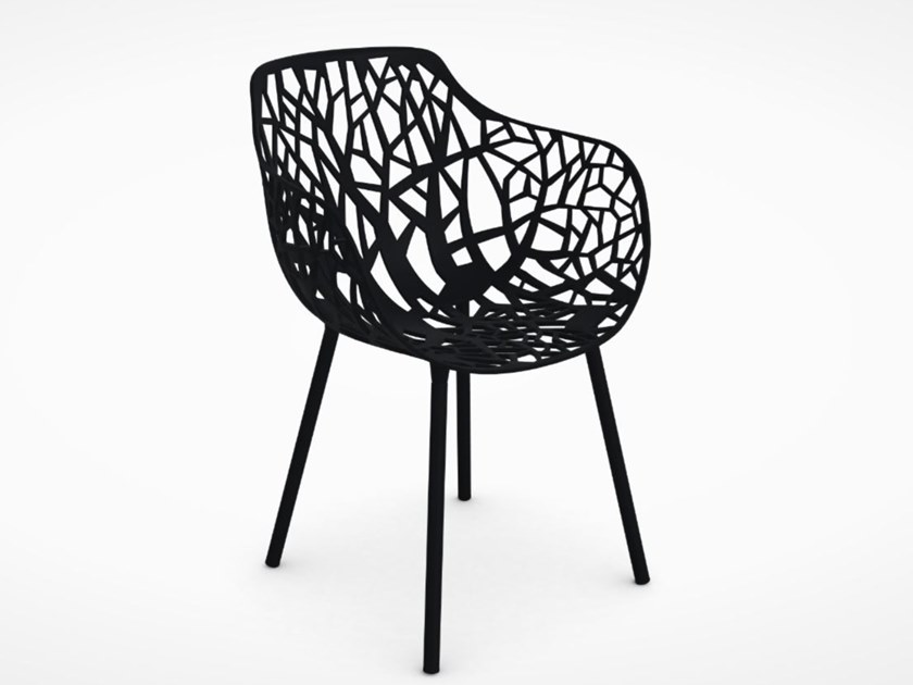 Aluminium garden chair with armrests FAST - FOREST Black by Archiproducts.com