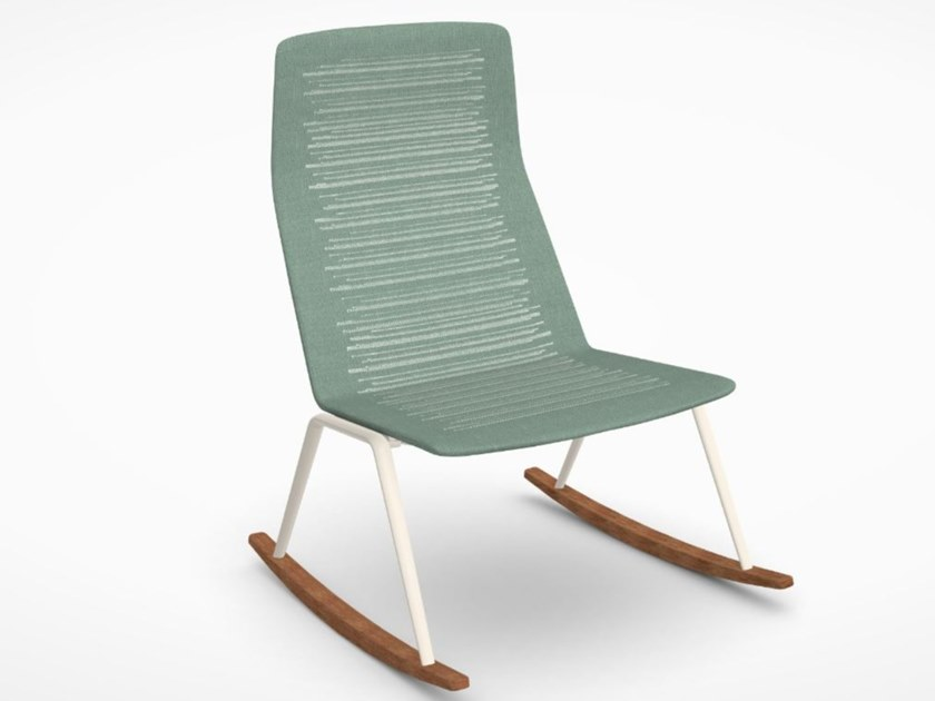 Contemporary style rocking high-back garden armchair FAST - ZEBRA KNIT Grove green by Archiproducts.com