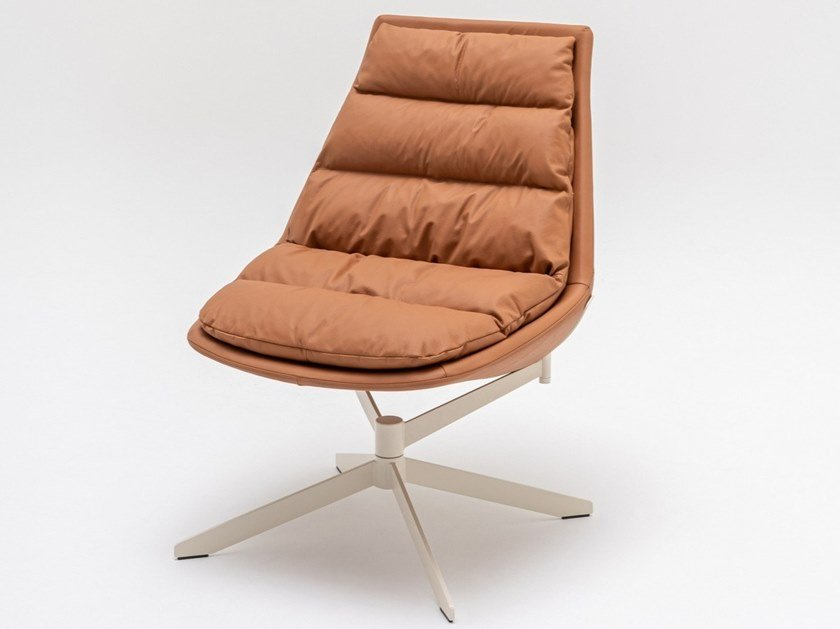Swivel leather armchair with 4-spoke base FAT FRANK | Leather armchair by MDD