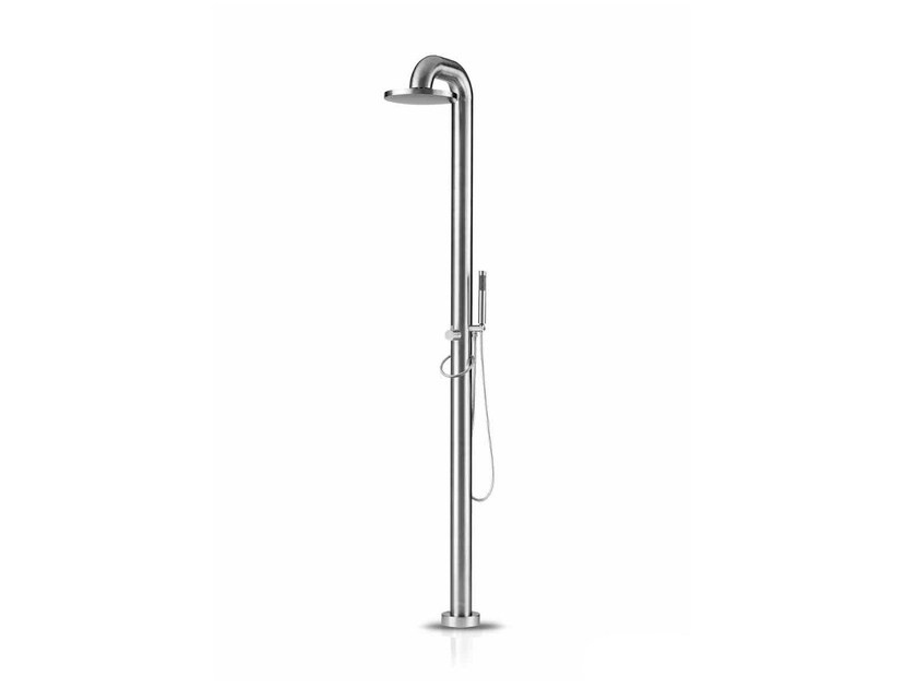 Floor standing stainless steel shower panel with hand shower FATLINE 02 by JEE-O