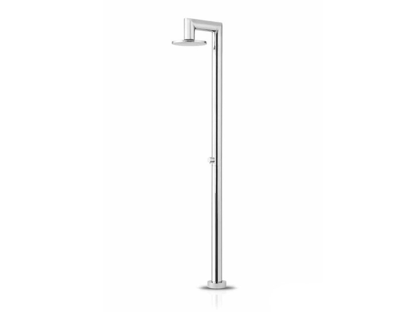 Floor standing stainless steel shower panel with overhead shower FATLINE 04 by JEE-O