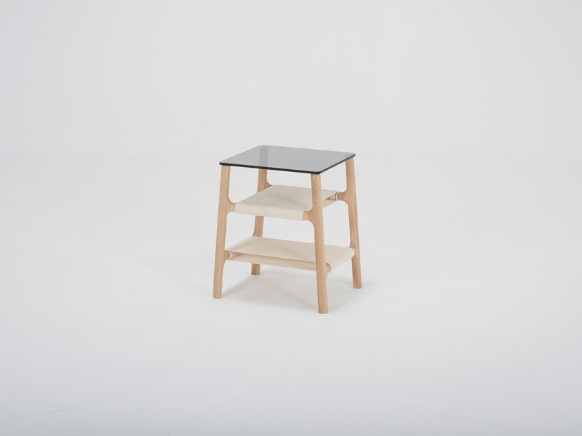Rectangular wood and glass side table FAWN | Side table by Gazzda