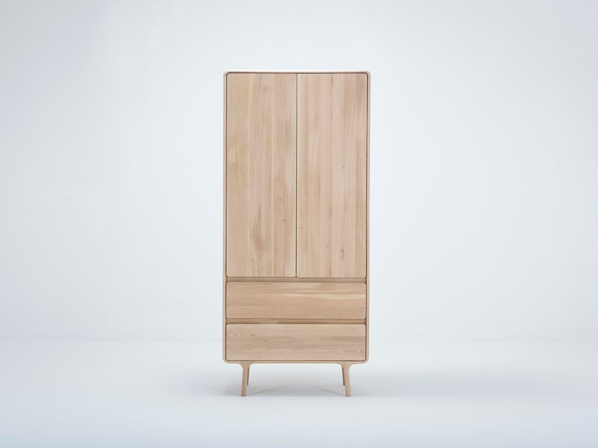 Oak wardrobe with drawers FAWN | Wardrobe by Gazzda