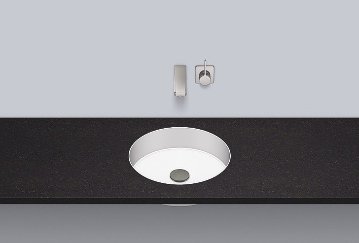 Flush built-in basin from glazed steel FB.KE375 by Alape