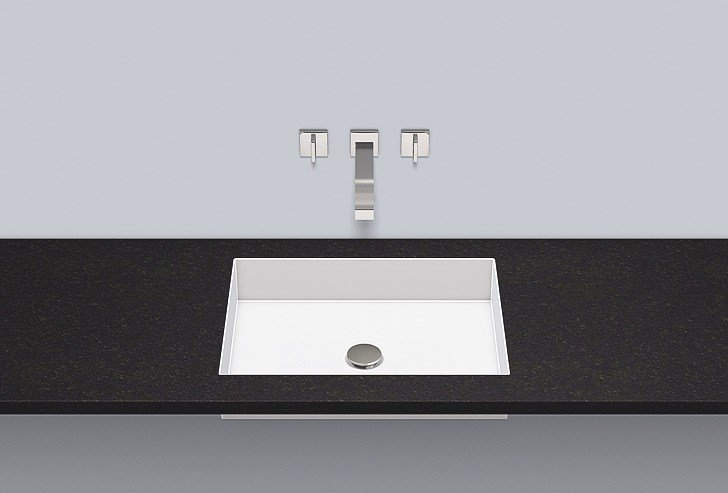 Flush built-in basin from glazed steel FB.ME500 by Alape