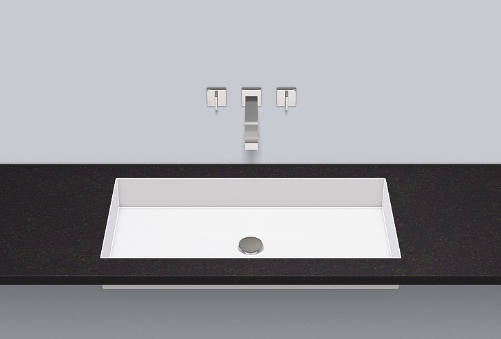 Flush built-in basin from glazed steel FB.ME750 by Alape