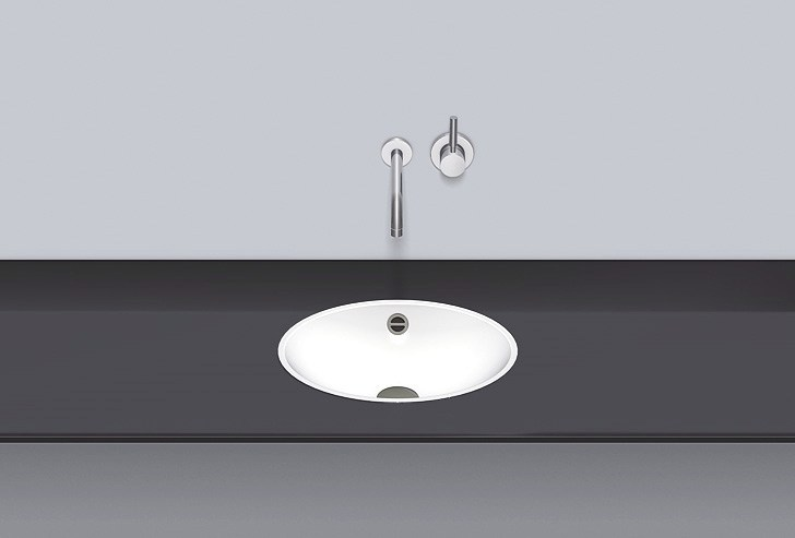 Flush built-in basin from glazed steel FB.O425 by Alape