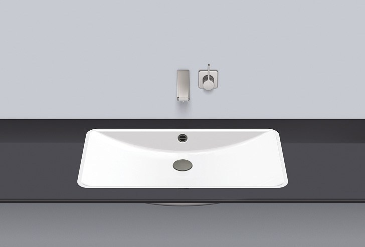 Flush built-in basin from glazed steel FB.R800.2 by Alape