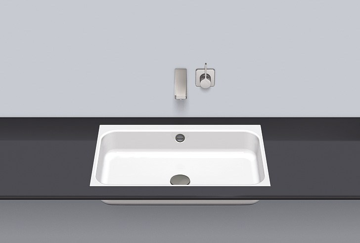 Flush built-in basin from glazed steel FB.SR650.3 by Alape