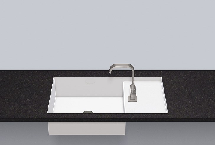 Flush built-in basin from glazed steel FB.ST700H.R by Alape