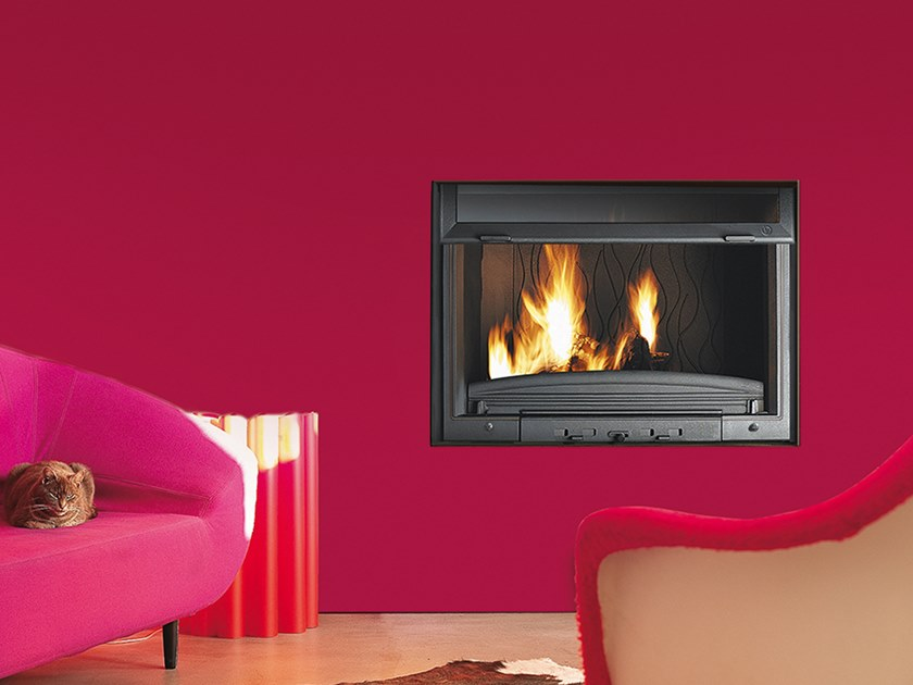 Wood-burning Class A built-in cast iron fireplace FC 80 RL by CAMINETTI MONTEGRAPPA