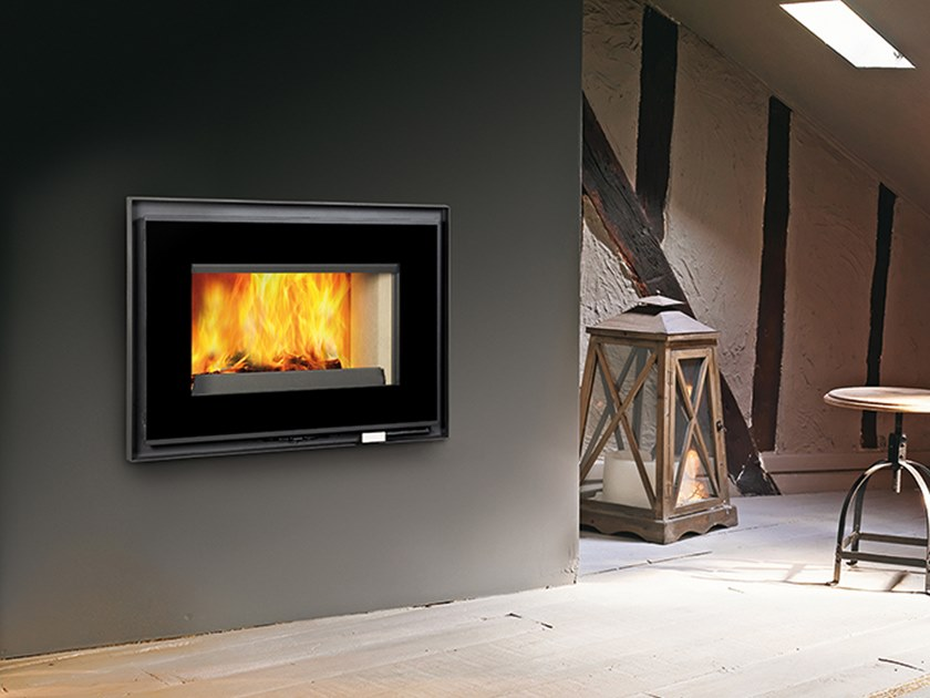 Contemporary style wood-burning closed Class A cast iron fireplace FC 90 GA by CAMINETTI MONTEGRAPPA