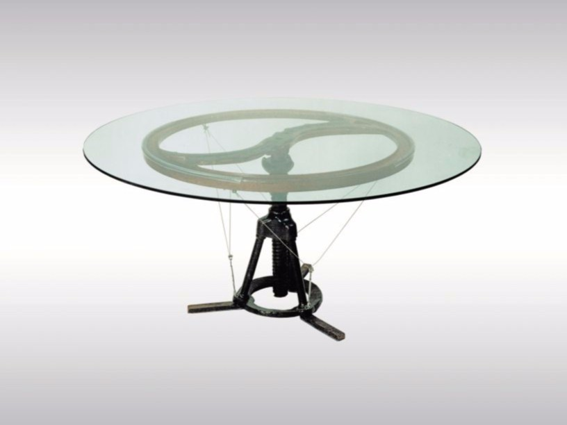 Round glass and iron table FE-TISCH by Woka Lamps Vienna