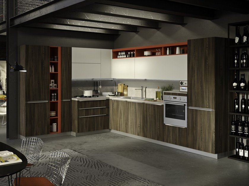 Fitted kitchen with integrated handles FEEL ROVERE HAVANA by Snaidero