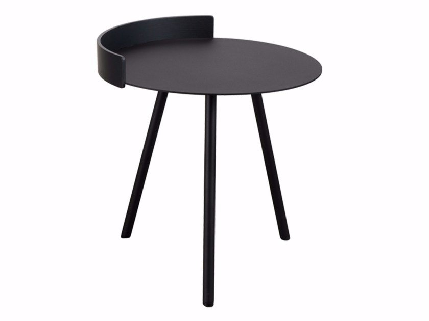 Lacquered round steel side table FENCE by Palau