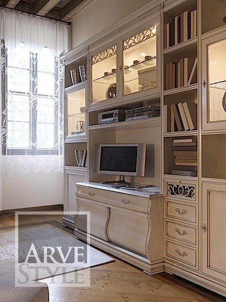 Lacquered TV wall system FENICE | Bookcase with built-in lights by Arvestyle