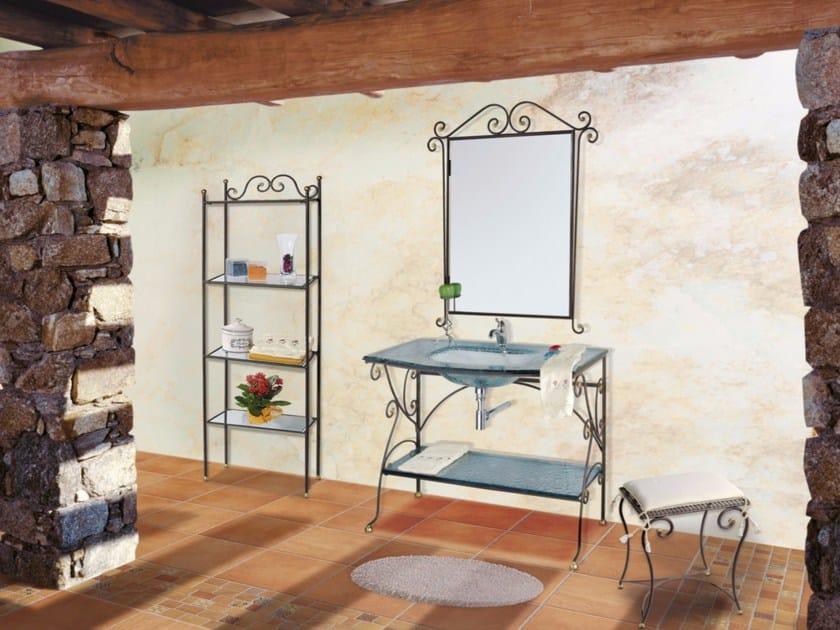 Wrought iron vanity unit with mirror FERRO BATTUTO CM01FB by LA BUSSOLA