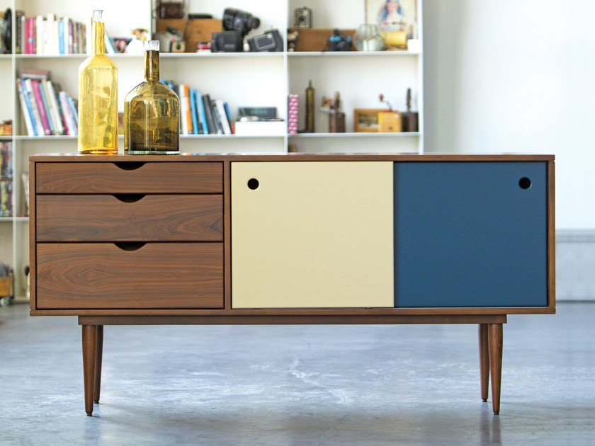 Lacquered rosewood sideboard with sliding doors FIDAR | Rosewood sideboard by Kann Design