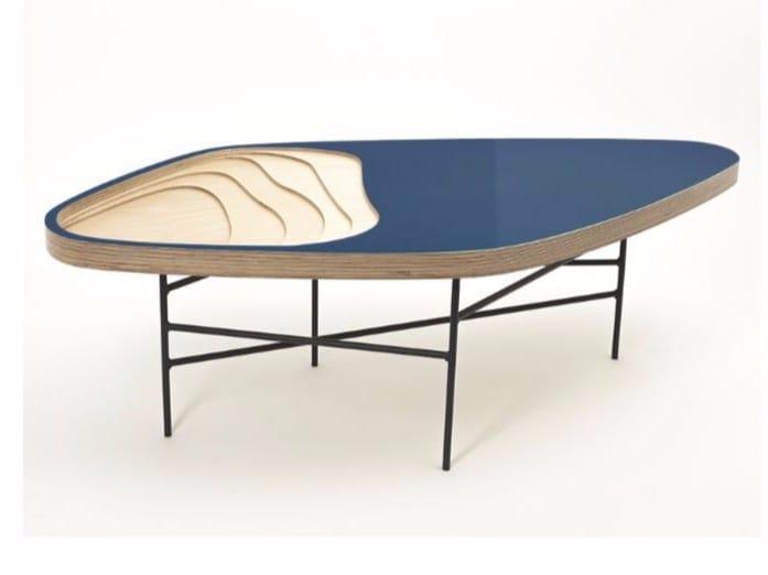 Multi-layer wood coffee table FIDJI 111 by MALHERBE EDITION