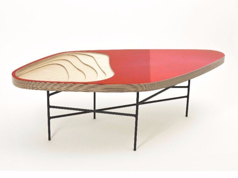 Lacquered wooden coffee table FIDJI 322 by MALHERBE EDITION