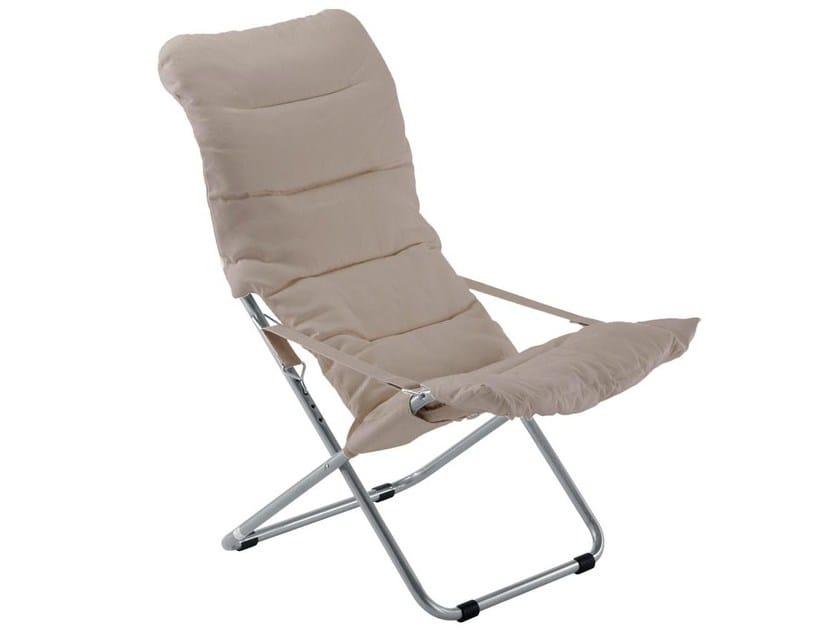 Folding recliner fabric deck chair FIESTA SOFT by FIAM