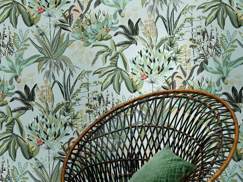 Wallpaper with floral pattern with textile effect FIGARI by LELIEVRE