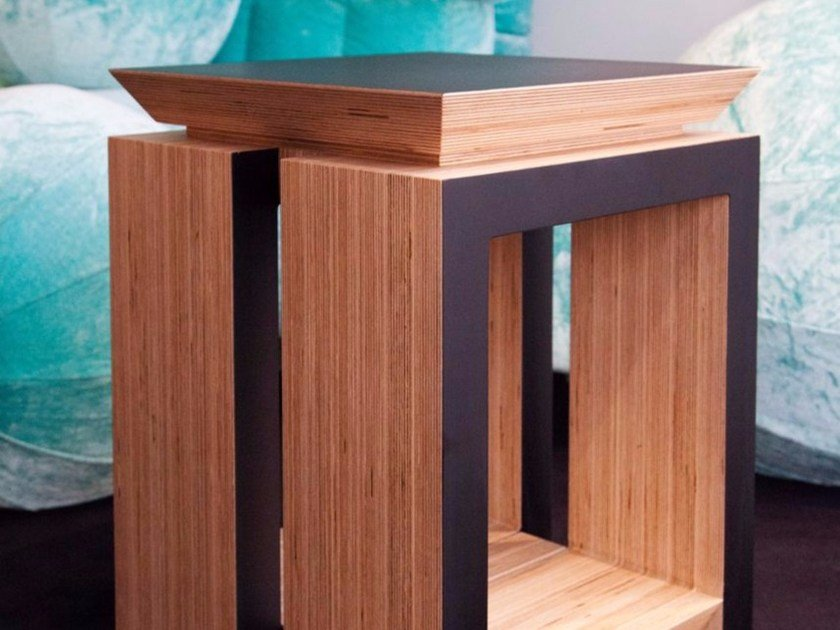 Rectangular multi-layer wood bedside table FIGARI by MALHERBE EDITION