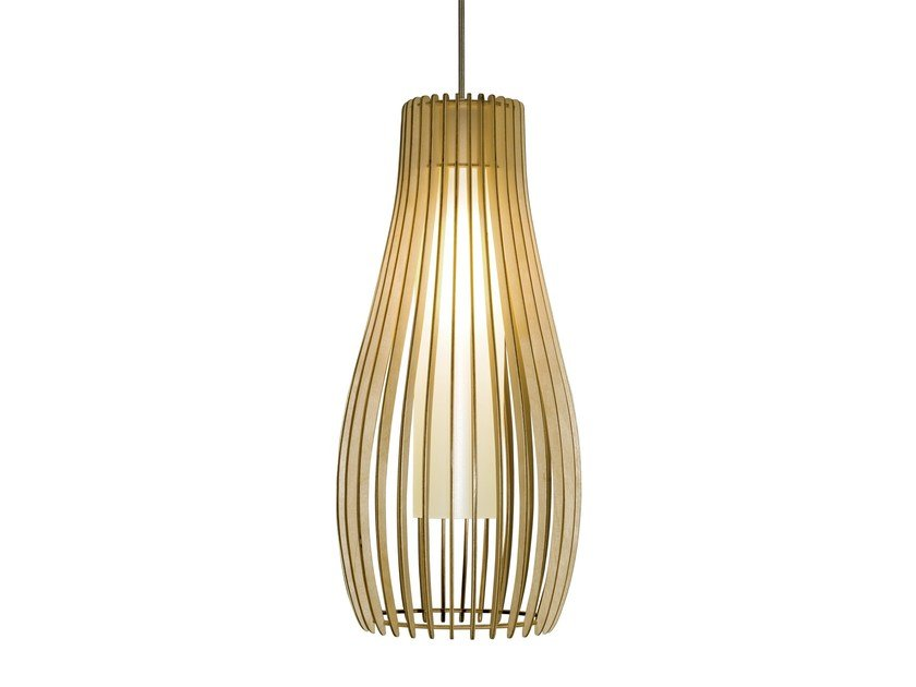 Wooden pendant lamp FIGUE 500 by Brossier Saderne