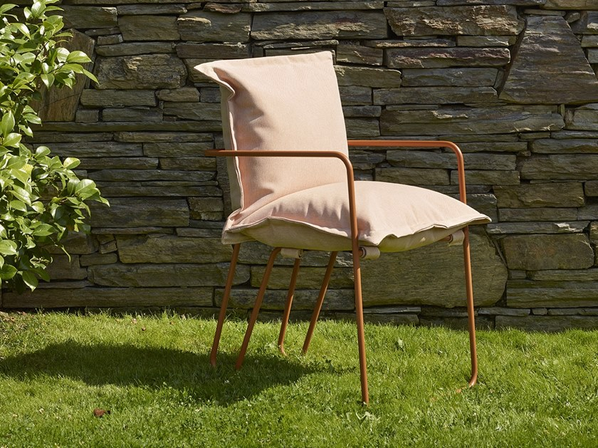 Upholstered fabric chair with armrests FIKA by Adico