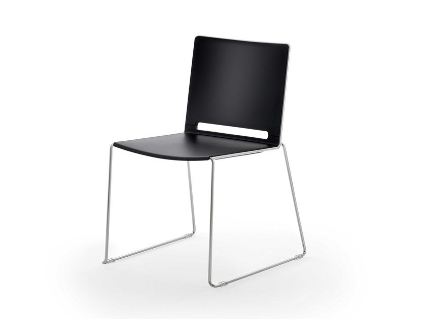 Sled base stackable polypropylene chair FILÒ PLASTIC | Chair by Diemmebi