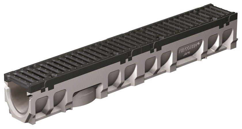 FILCOTEN PRO 100/0 H142 BORDO GHISA | Elemento e canale di drenaggio Canale Filcoten Pro 100 bordo ghisa con griglia in ghisa sferoidale F900