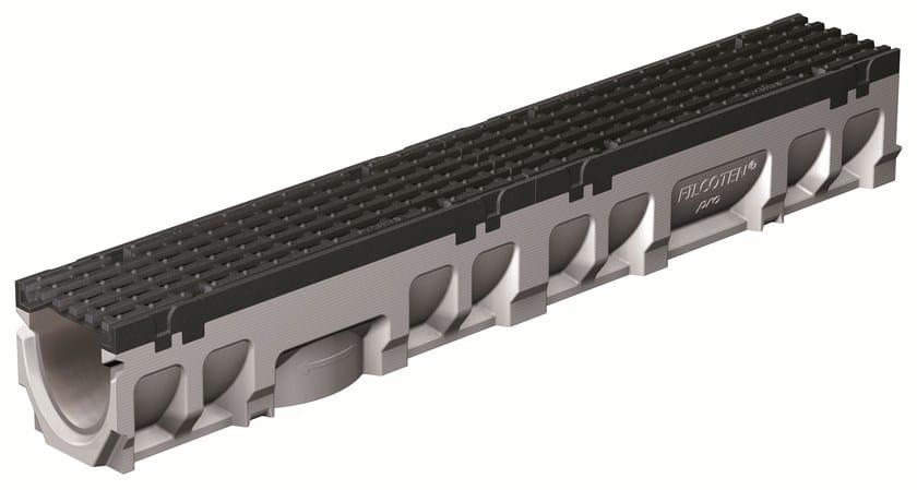 FILCOTEN PRO 100/0 H142 BORDO GHISA | Elemento e canale di drenaggio Canale Filcoten Pro 100 bordo ghisa con griglia in ghisa sferoidale D400