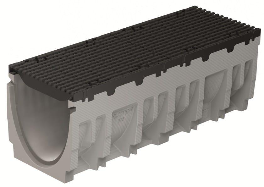 FILCOTEN PRO 300/10 H410 BORDO GHISA | Elemento e canale di drenaggio canale Filcoten Pro 300 con bordo in ghisa e griglia in ghisa sferoidale a maglia E600
