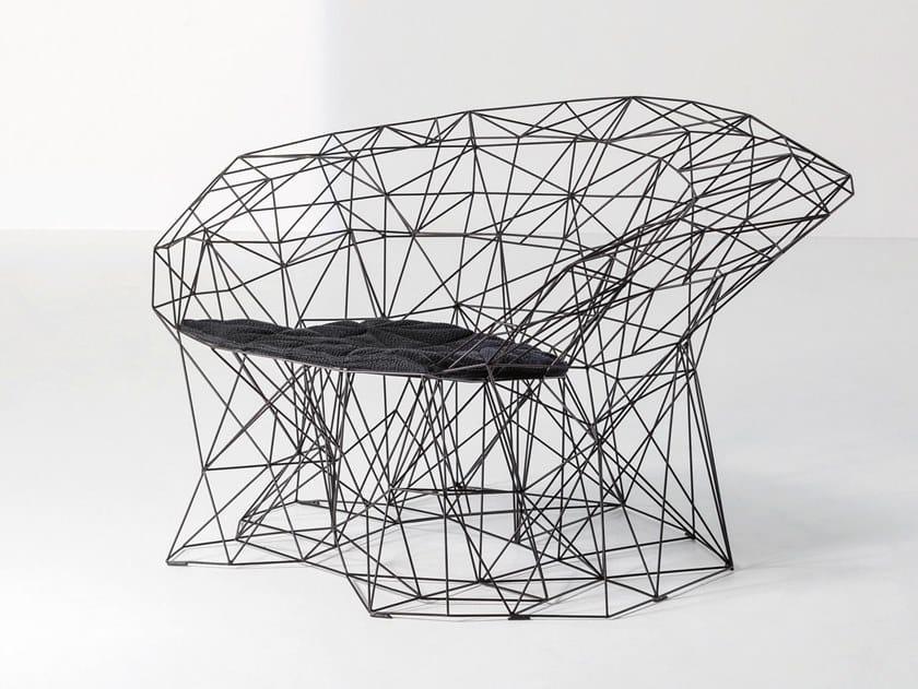 Poltrona in acciaio con braccioli FILILINEA by La Cividina