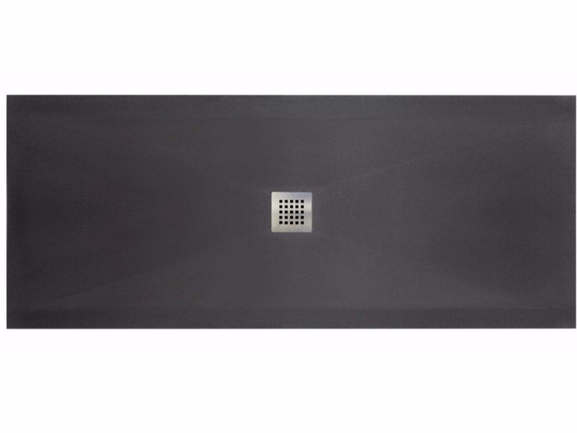 Flush fitting rectangular Solid Surface shower tray FILO by Blu Bleu