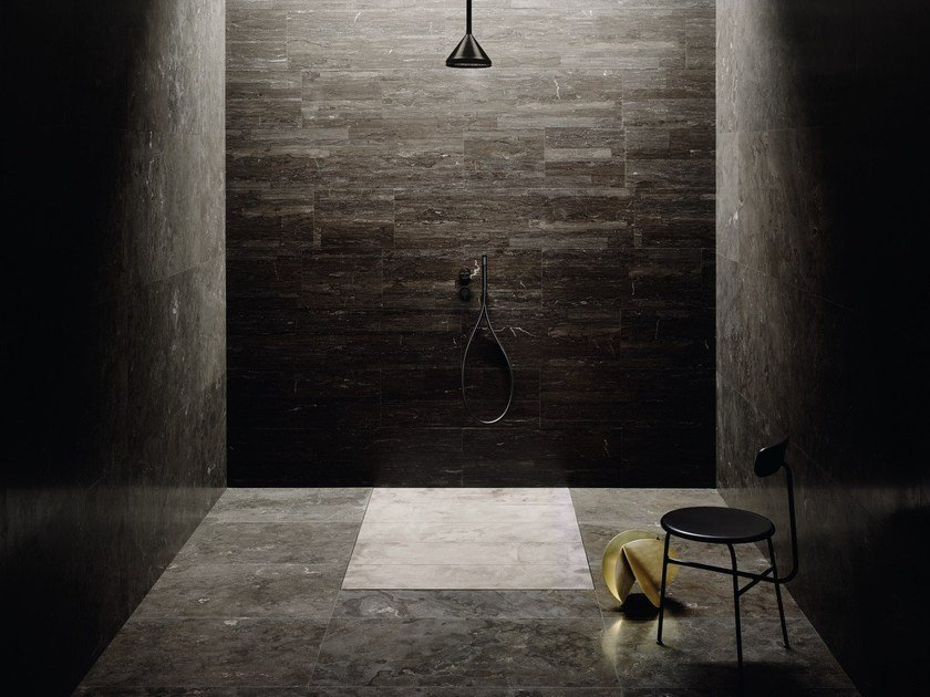 Flush fitting rectangular marble shower tray FILO FLUSH by SALVATORI