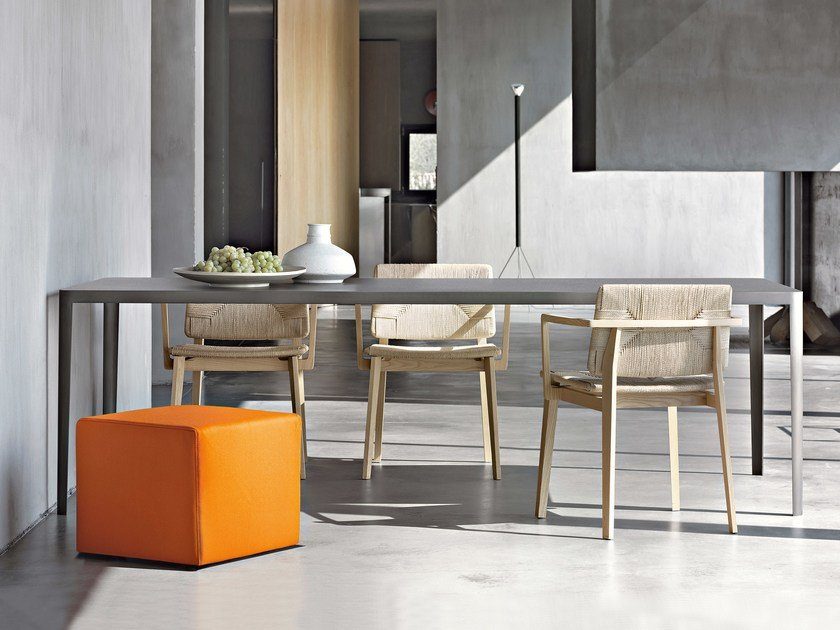 Rectangular cement table FILO by Lema