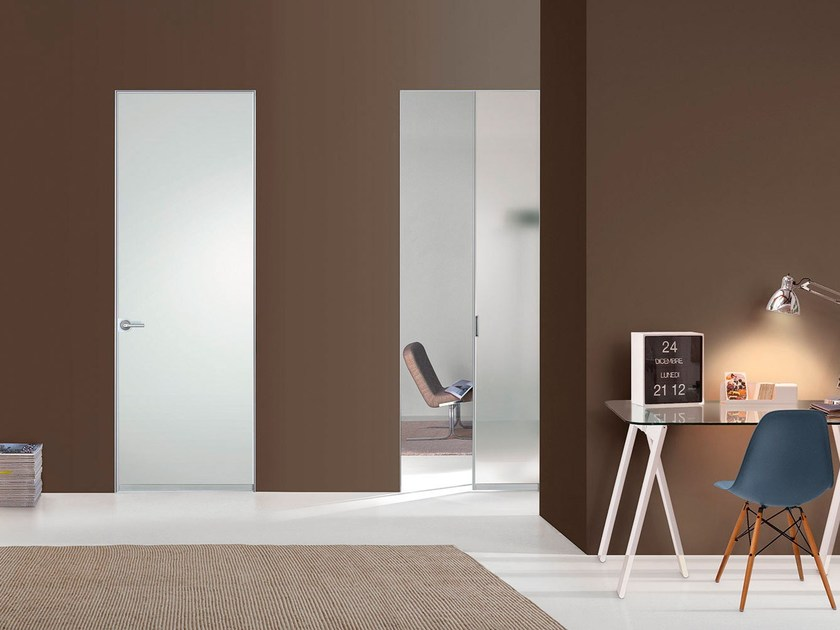 Hinged satin glass door FILO ZERO - SATIN GLASS by PORTEK