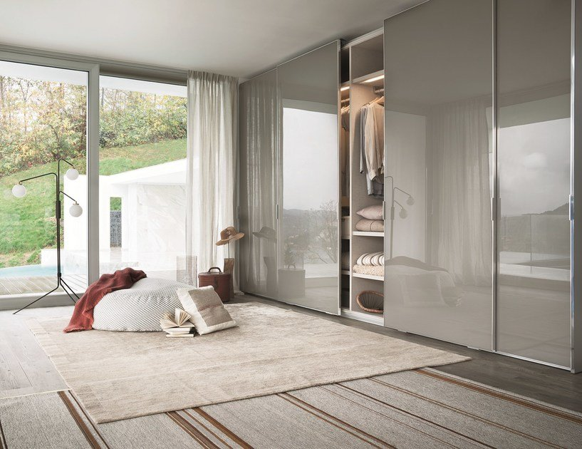 Armadio Ante Scorrevoli In Vetro.Wardrobe With Sliding Doors Custom Fina By Lema