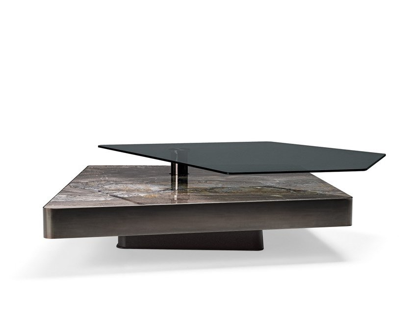 Low marble and glass coffee table FINAL CUT by Arketipo