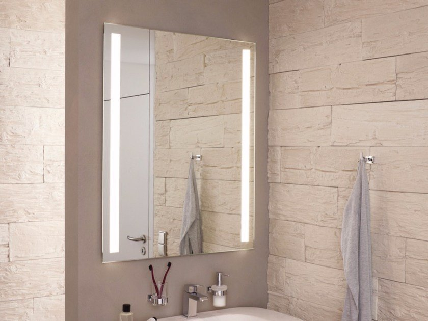 Wall-mounted mirror with integrated lighting FINELINE by Top Light