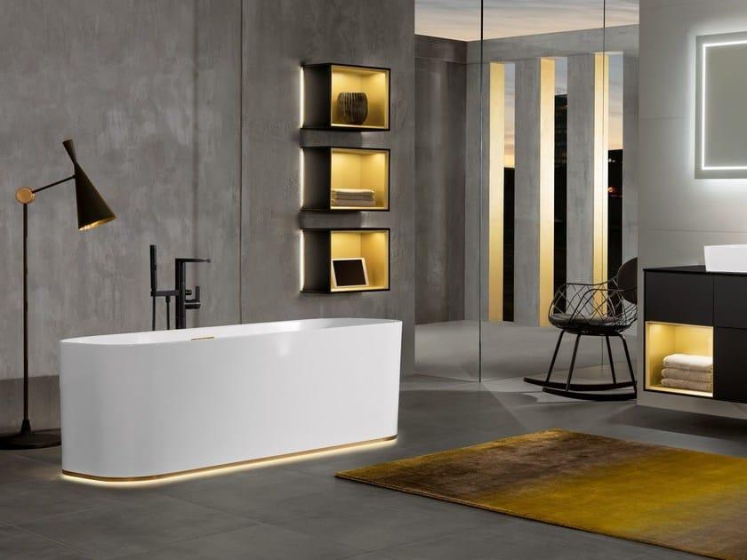 Vasca Da Bagno Freestanding Rettangolare : Vasca da bagno centro stanza luminosa rettangolare in quaryl® finion