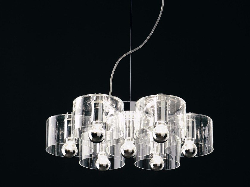 Blown glass pendant lamp FIORE - 423 by Oluce