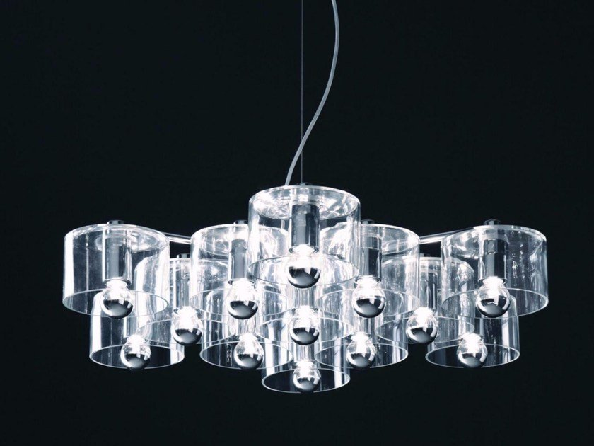 Blown glass pendant lamp FIORE - 433 by Oluce